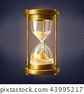 Vector realistic hourglass with golden sand 43995217