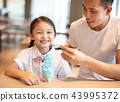 Little girl with father  eating ice cream 43995372