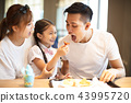 Happy family  enjoying dinner in restaurant. 43995720