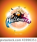 Happy Halloween illustration with moon, flying bats and pumpkin hand on orange background. Vector 43996351