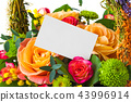 Roses bouquet and paper card 43996914