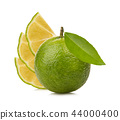 lemon with green leafs on white background 44000400