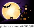Halloween night, purple sky and full moon 44001608
