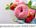 Pink donuts on gray background 44001947