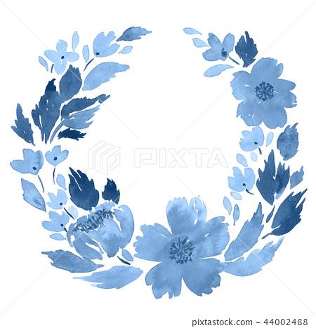 Loose watercolor floral wreath in indigo blue 44002488