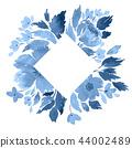 Floral arrangement template in indigo blue 44002489