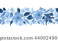 Seamless watercolor floral border pattern in blue 44002490