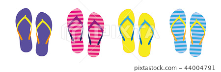 set with colorful summer flip flops for beach holiday 44004791