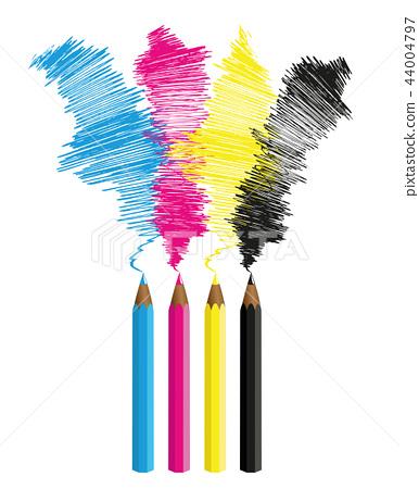 illustration of cmyk pencils cyan magenta yellow key 44004797