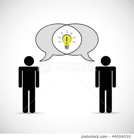 two mens have one idea communication concept pictogram 44004838