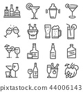 Vector line alcohol icons set on white background 44006143