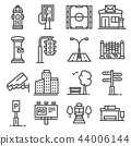 Vector line city elements icons set  44006144