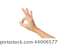 Woman hand ok sign isolated on white  background  44006577