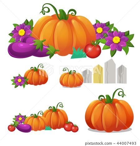 Set of ripe vegetables isolated on white background. Vector cartoon close-up illustration. 44007493
