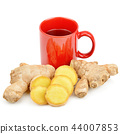 Ginger root and ginger tea isolated on white 44007853