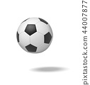 3d rendering of a single black and white leather ball for playing football or soccer. 44007877