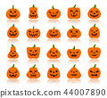 Jack O Lantern simple flat color icons vector set 44007890
