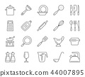 Kitchenware simple black line icons vector set 44007895