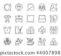 Insomnia simple black line icons vector set 44007898