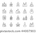 Candle Flame simple black line icons vector set 44007903