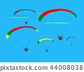 Group of para gliding flying on the sky cloud blue 44008038