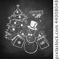tree, blackboard, chalk 44008048