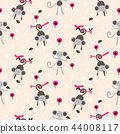 Funny monkey cute pink seamless vector kids pattern. 44008117