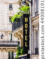 Hotel sign on facade of a building. Paris, France 44008191