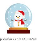 스노우 글로브 일러스트   머플러를 두른 눈사람 · 눈사람   snow dome, globe 44008249
