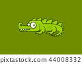 Cartoon crocodile isolated on green 44008332