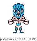 Cartoon mexican wrestler luchador pose.  44008395