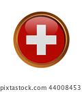 Swiss flag in the golden frame  44008453