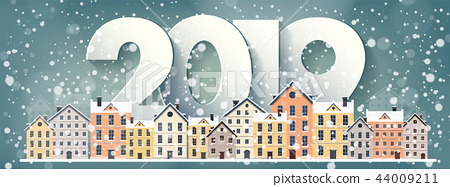 2019. Winter urban landscape. City with snow. Christmas and new year. Cityscape. Buildings.Vector 44009211