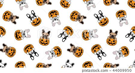 dog seamless pattern vector french bulldog pumpkin 44009950
