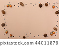 Autumn themed background border on brown paper 44011879