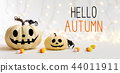 Hello Autumn message with pumpkins with spider 44011911