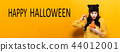 Happy Halloween with woman holding a pumpkin 44012001