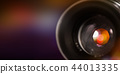 Camera lens with lense reflections, macro shot. 44013335