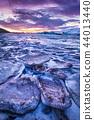 Icebergs in Jokulsarlon glacial lake during sunset, Iceland 44013440