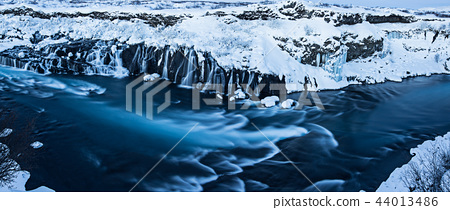 Hraunfossar waterfall in winter, Iceland. 44013486