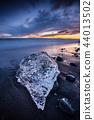 Beautiful sunset over famous Diamond beach, Iceland. 44013502