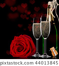 Valentines day background with champagne and roses 44013845
