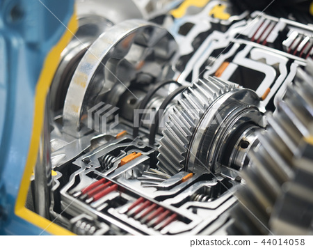 Cutaway model of automobile parts and transmission - Stock Photo