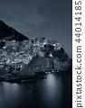 Manarola black and white in Cinque Terre night 44014185