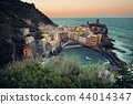 Vernazza bay buildings and sea in Cinque Terre 44014347