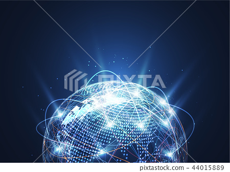 Global network connection. World map point 44015889