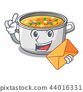 With envelope cartoon chicken soup pot for dinner 44016331