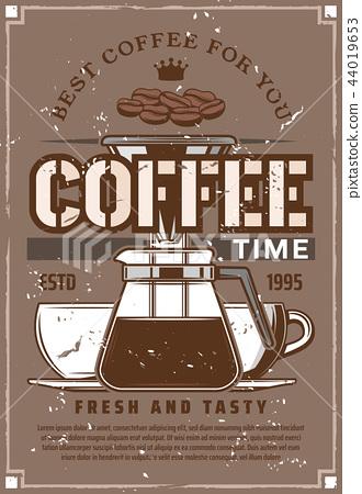 Coffee machine moka pot, cups, beans 44019653