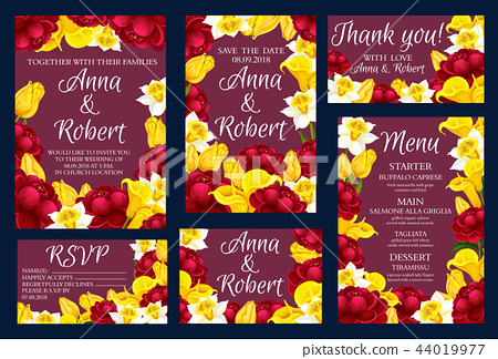 Wedding engagement invitation cards with flowers - Stock ...