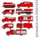 Fire trucks set, emergency vehicles, side view vector Illustrations on a white background 44021433